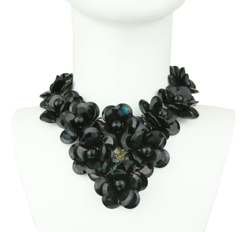 Sylvia Black Flower Big Necklace
