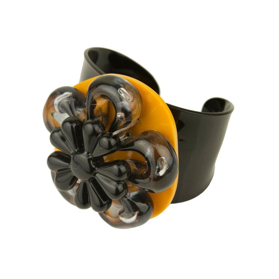 Black and Yellow Flower Acrylic Bracelet