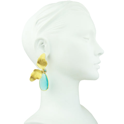 Antheia Vintage Metal Leaf and Turquoise Crystal Earrings
