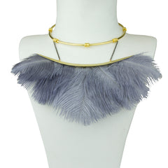 Artemis Grey Ostrich Feather Gold Plated Collar Necklace