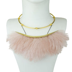 statement short metal necklace with powder pink ostrich feathers