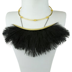statement short metal necklace with black ostrich feather katerina  psoma