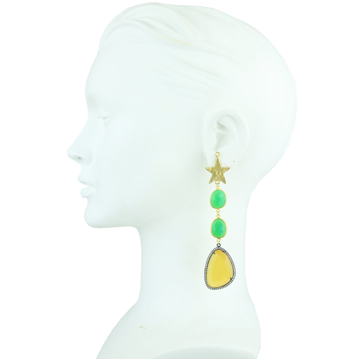 Aura Star and Faceted Stone Dangle Earrings