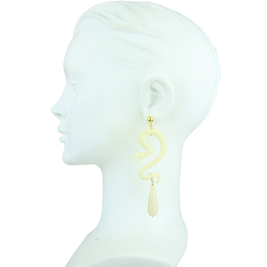 Nuwa White Resin Snake and Coral Drops Earrings