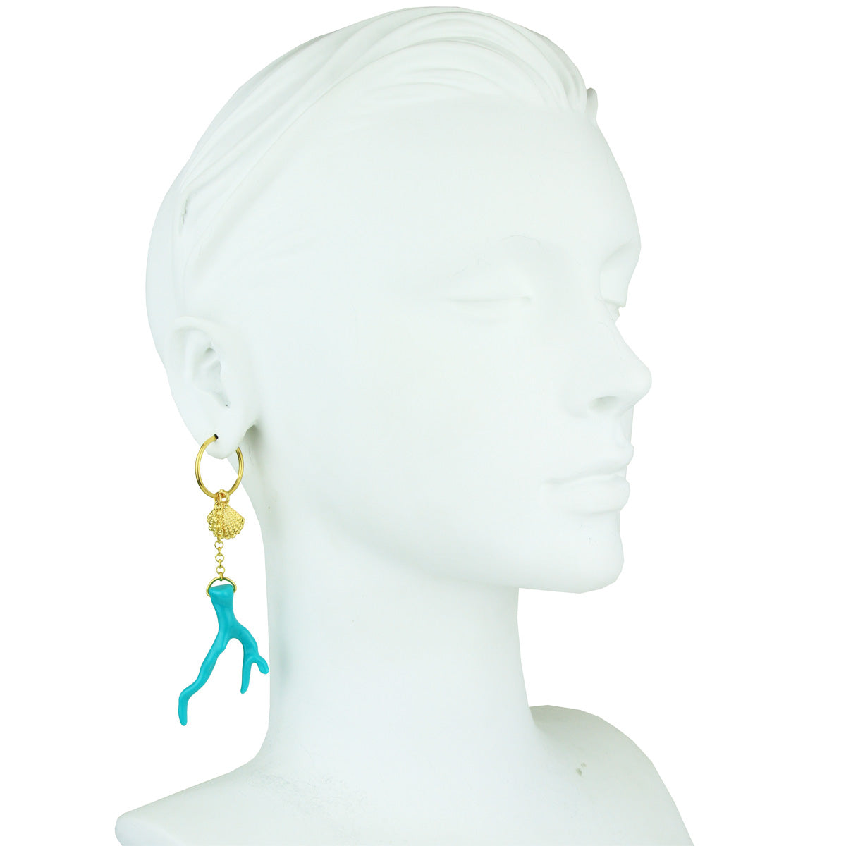 Lola Turquoise Coral Motifs and Marine Ornaments Hoop Earrings