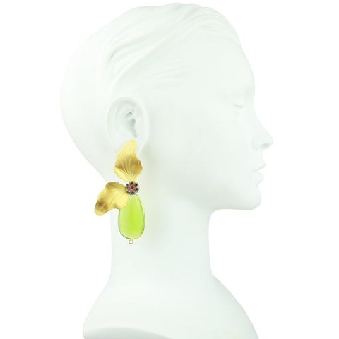 Antheia Vintage Metal Leaf and Green Crystal Earrings