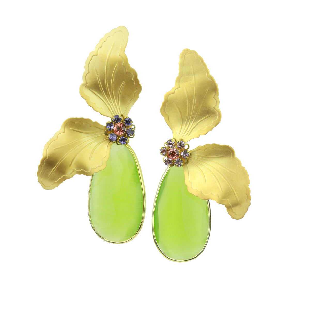 Antheia Vintage Metal Leaf and Green Cat's Eye Drop Earrings