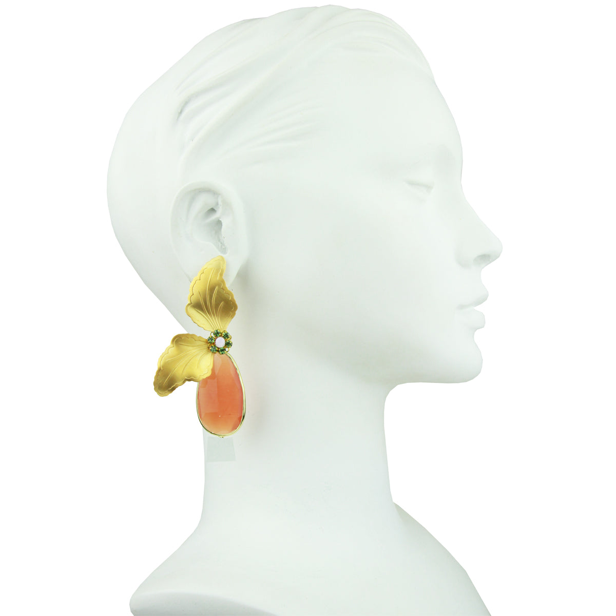 Antheia Vintage Metal Leaf and Orange Crystal Earrings