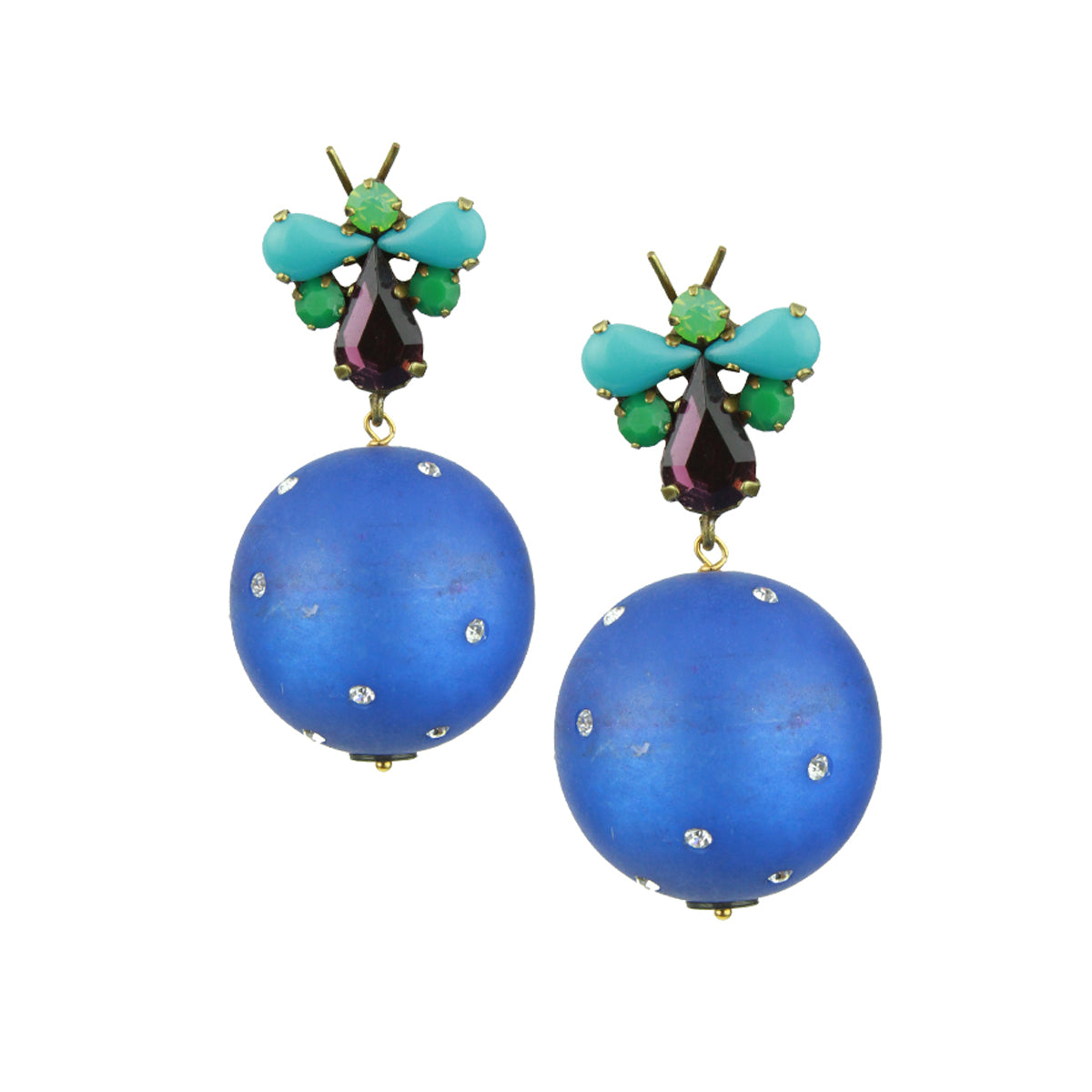Lola Crystal and Blue Resin Earrings