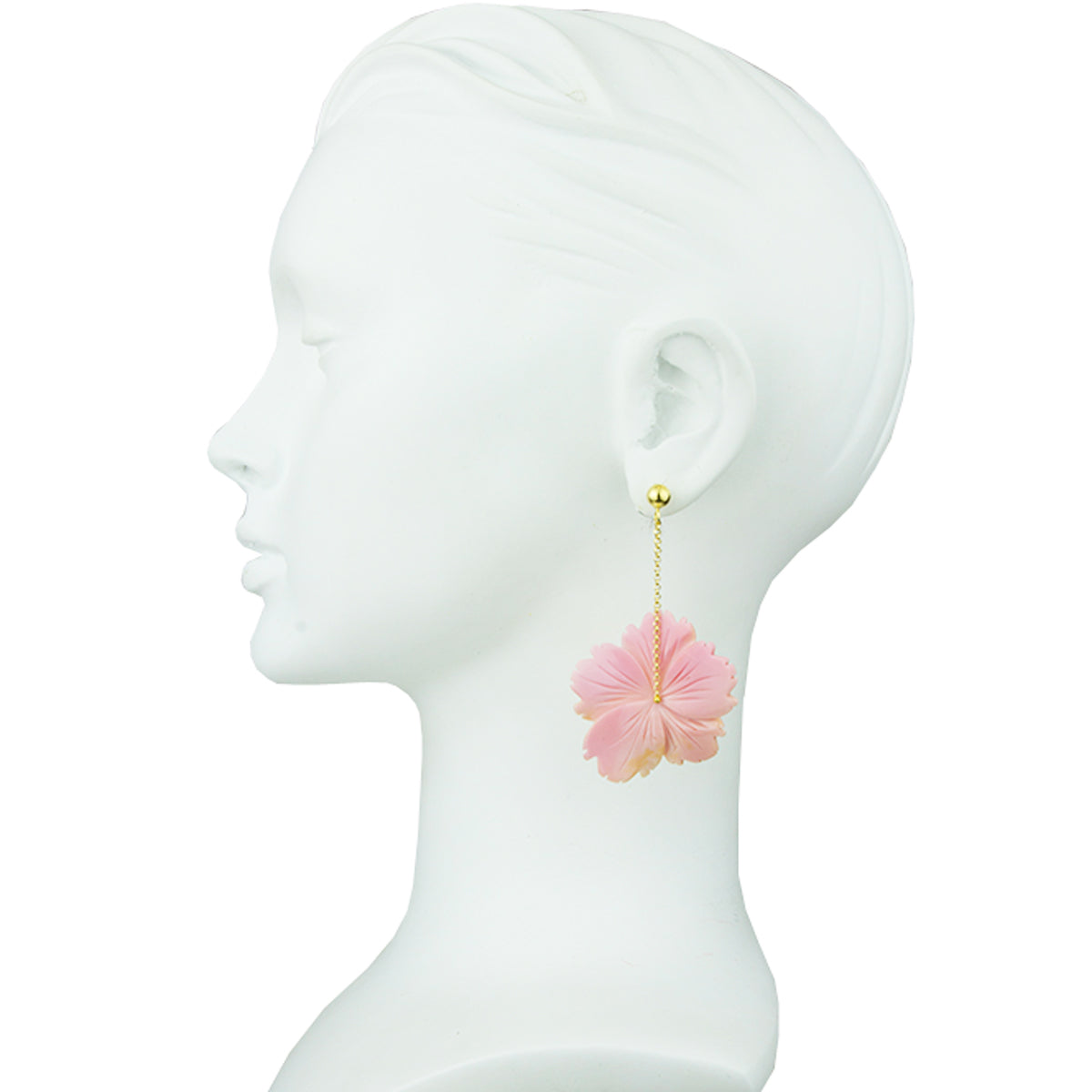 Pink Flower Motif Earrings