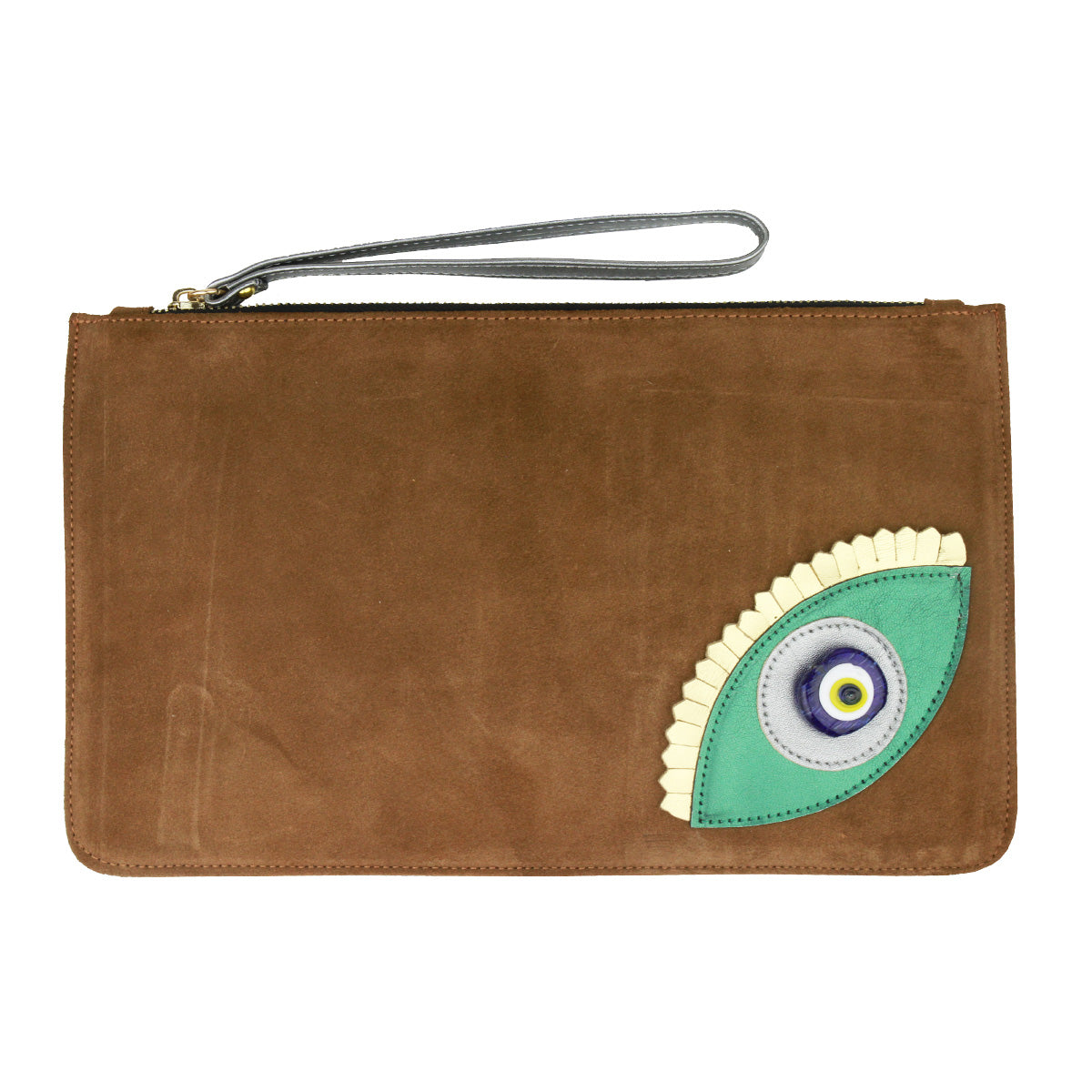 Evil Eye Brown Suede Clutch