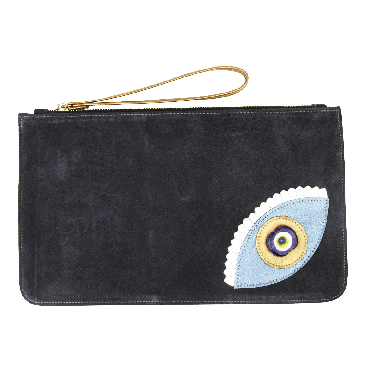 Evil Eye Dark Grey Suede Clutch