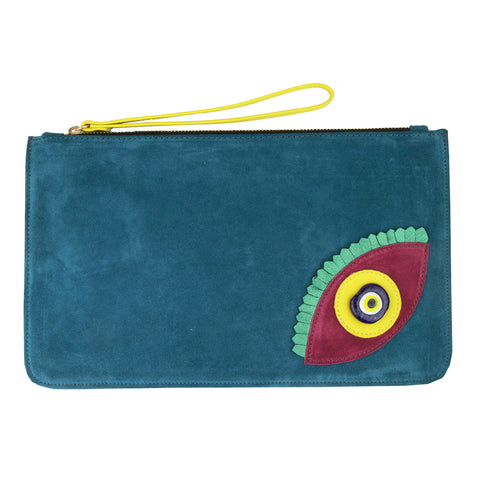Evil Eye Suede Blue Clutch