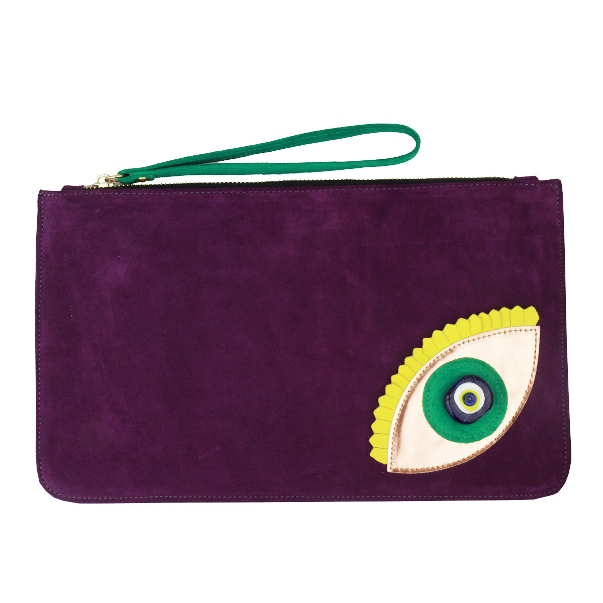 Evil Eye Purple Suede Clutch