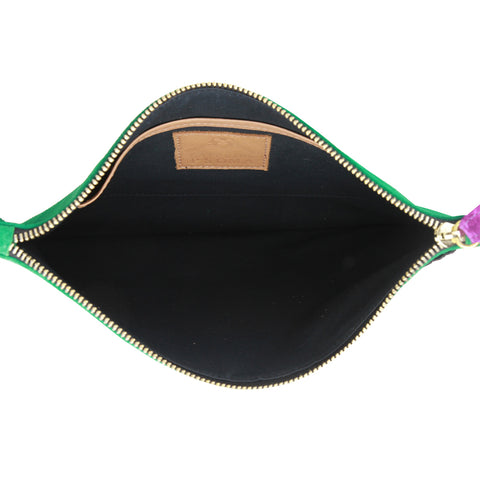 Evil Yellow Eye Suede Green Clutch