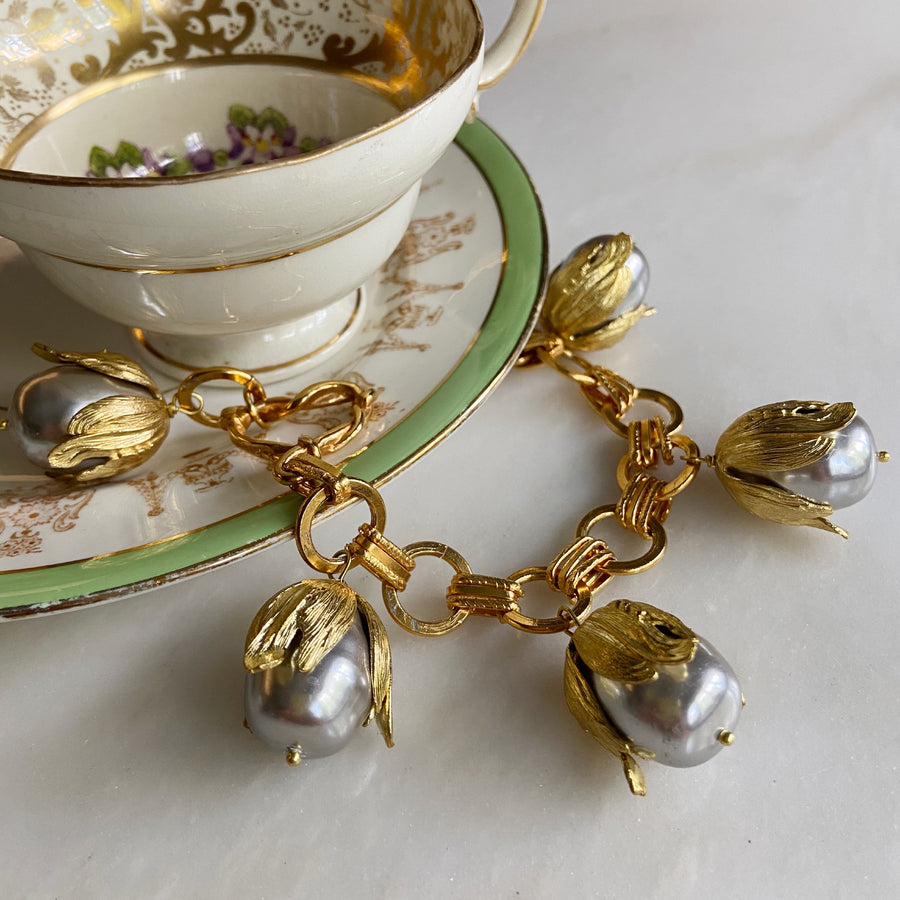Katerina Psoma gold plated  Chain Bracelet with Grey Pearls