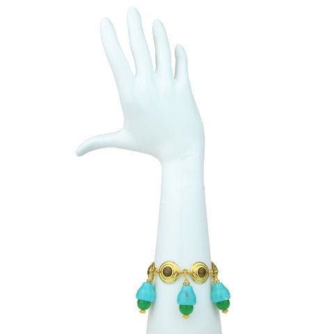 gold plated chain bracelet with green beads katerina psoma