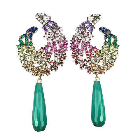 Ishtar Dangle Earrings with Green Drops and Multicolored Crystals