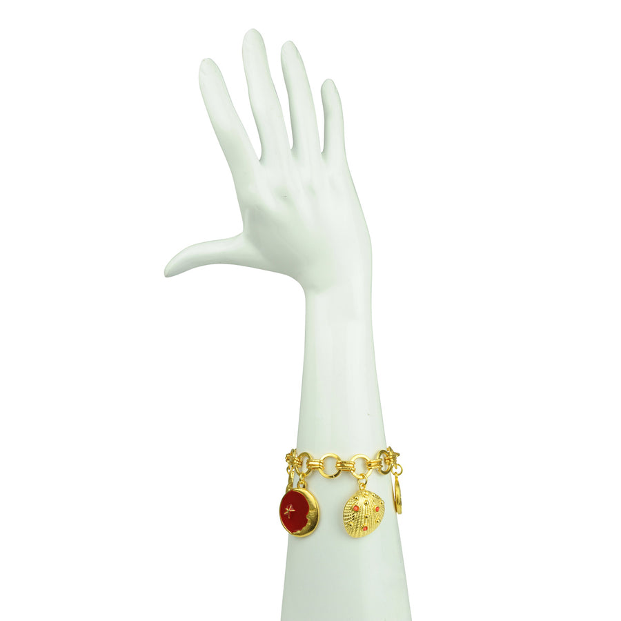 Katerina Psoma  Red Charm Bracelet enamel gold plated chain luxury