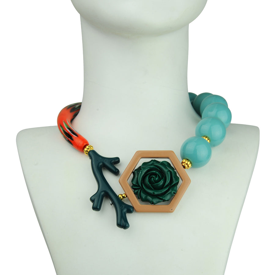 katerina psoma orange murano and turquoise beads short statement necklace