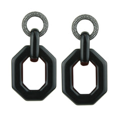 Memphis Black Octagon Earrings