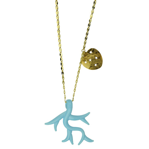 Light Blue Murano Pendant with Gold Plated Chain