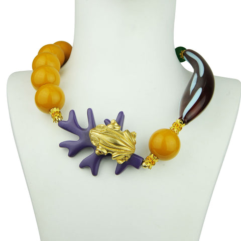 Rania Resin Short Necklace with Murano Glass