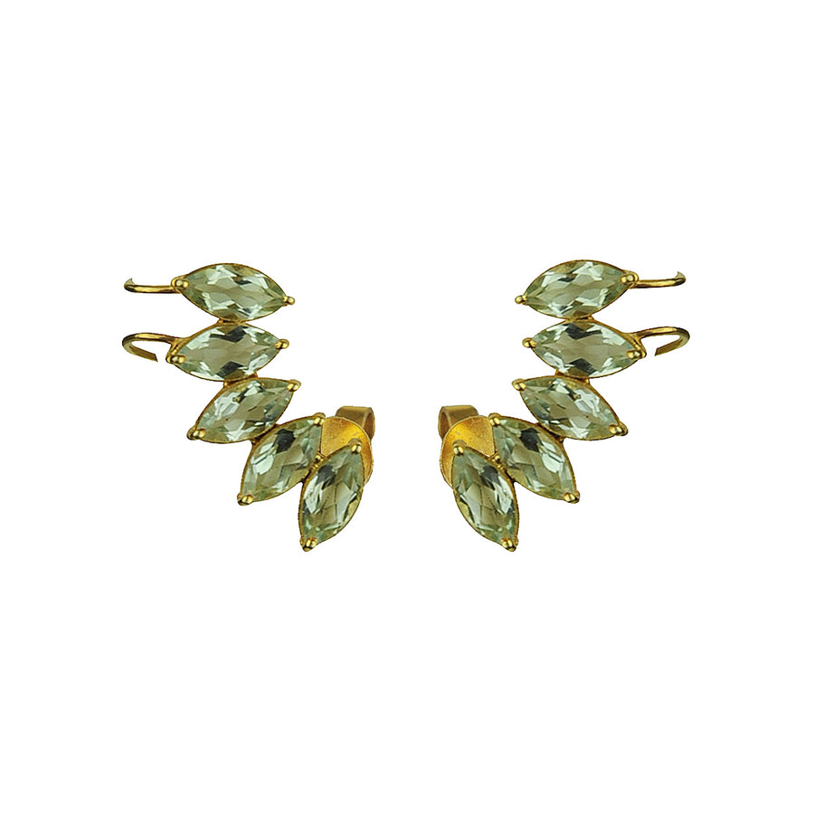 Light Green Amethyst Cuff Earrings KATERINA PSOMA