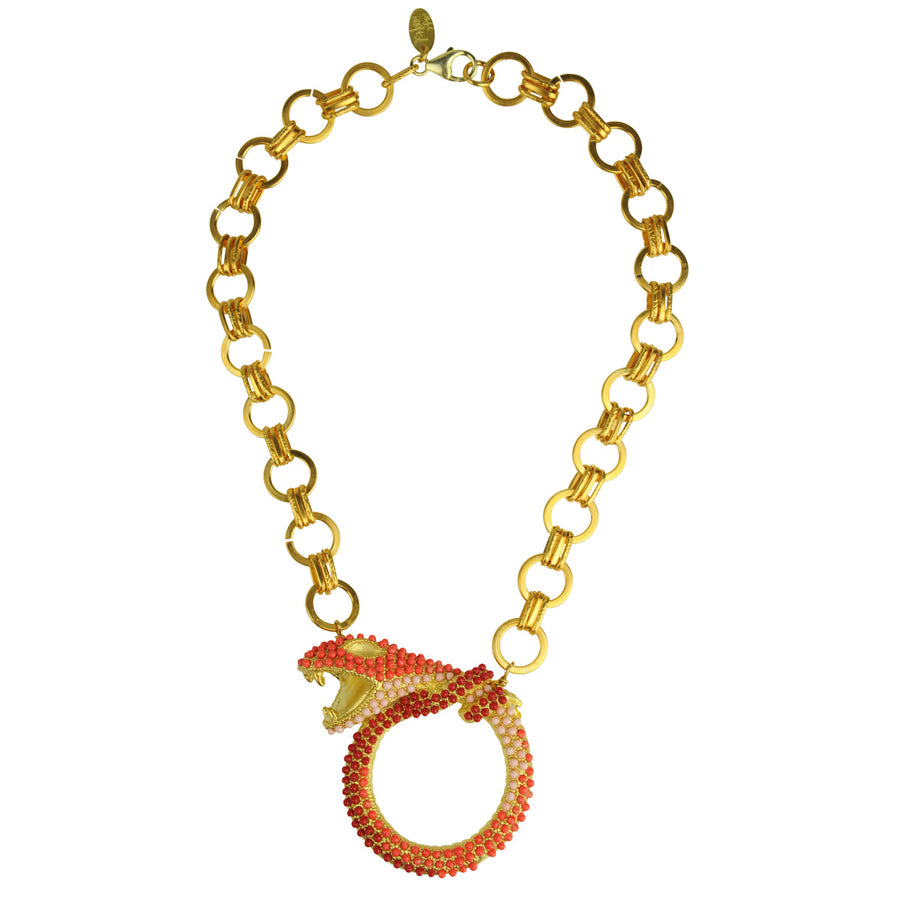 Coral snake metal statement necklace with chain katerina psoma