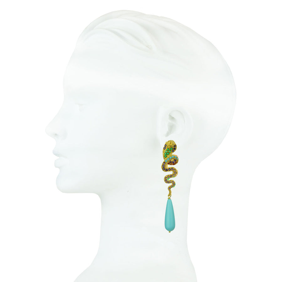 snake statement dangle earrings with crystals and turquoise drops katerina psoma close up