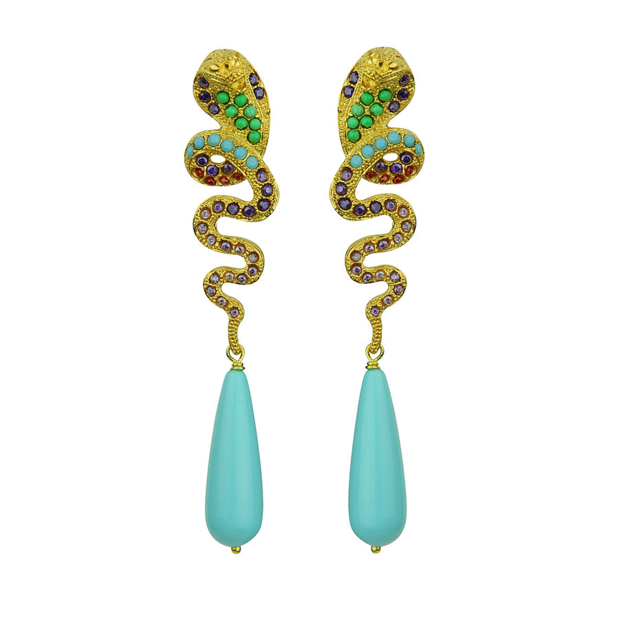 snake statement dangle earrings with crystals and turquoise drops katerina psoma