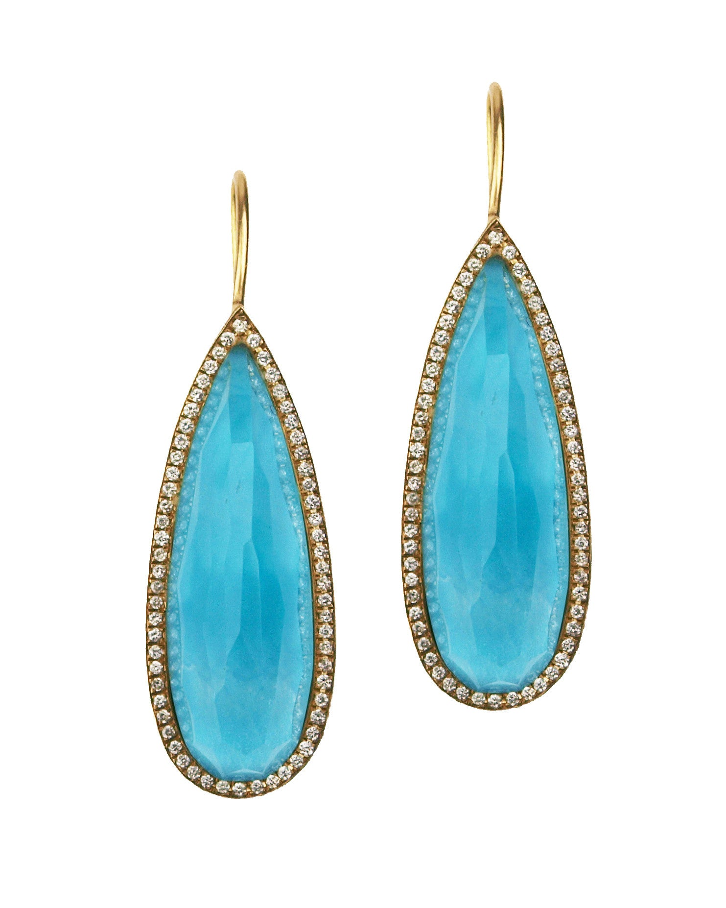 Turquoise & Crystal Quartz Drop with Diamonds Oceanides Earrings