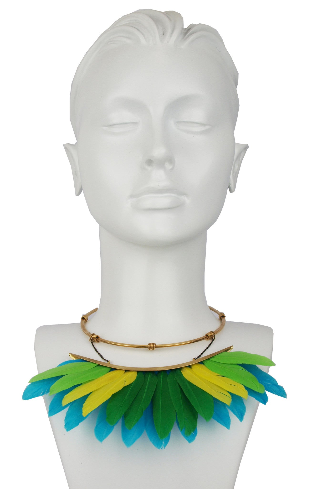 statement short necklace with mulricolor feathers katerina psoma