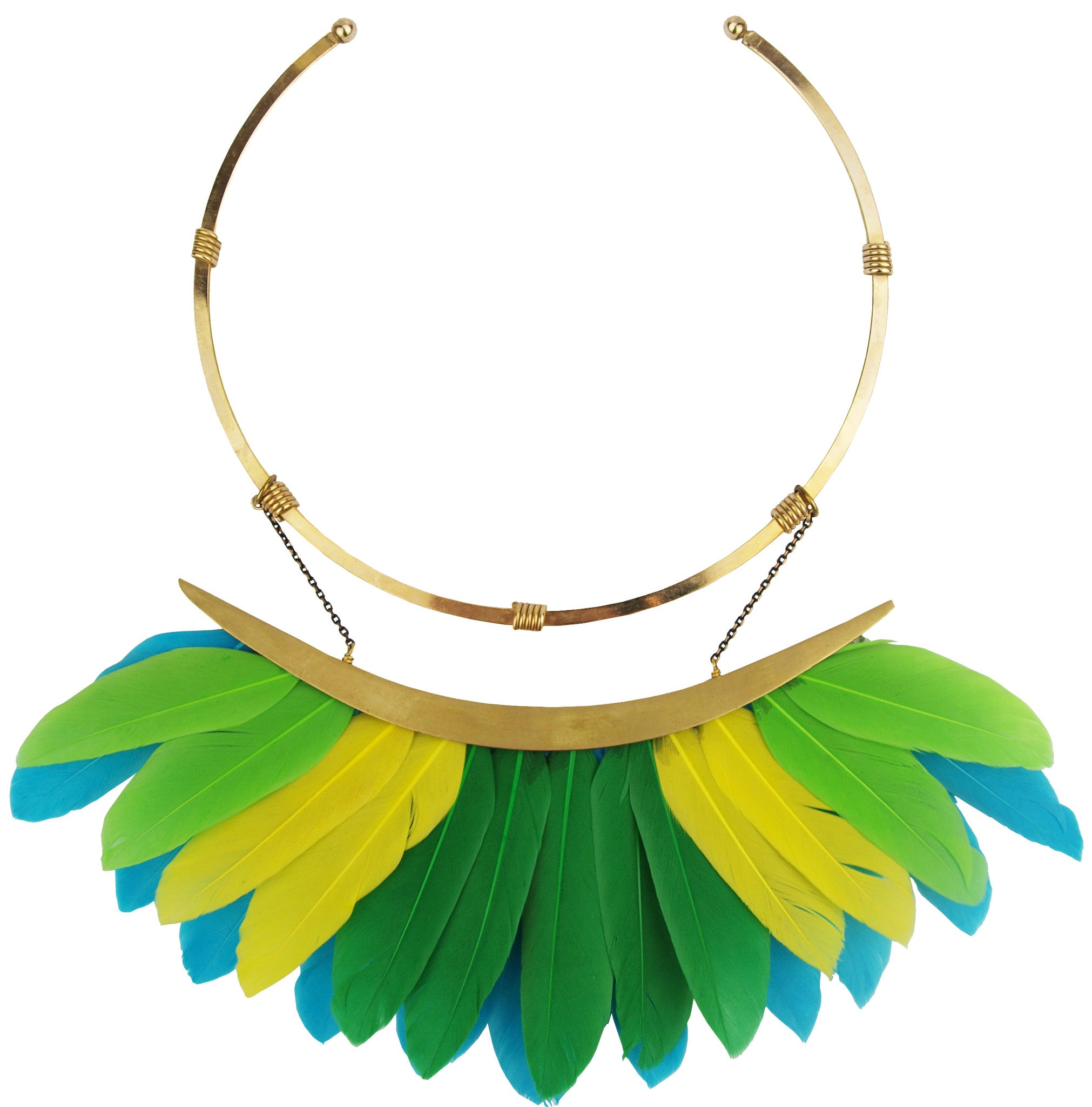 multicolor green feather collar necklace katerina psoma