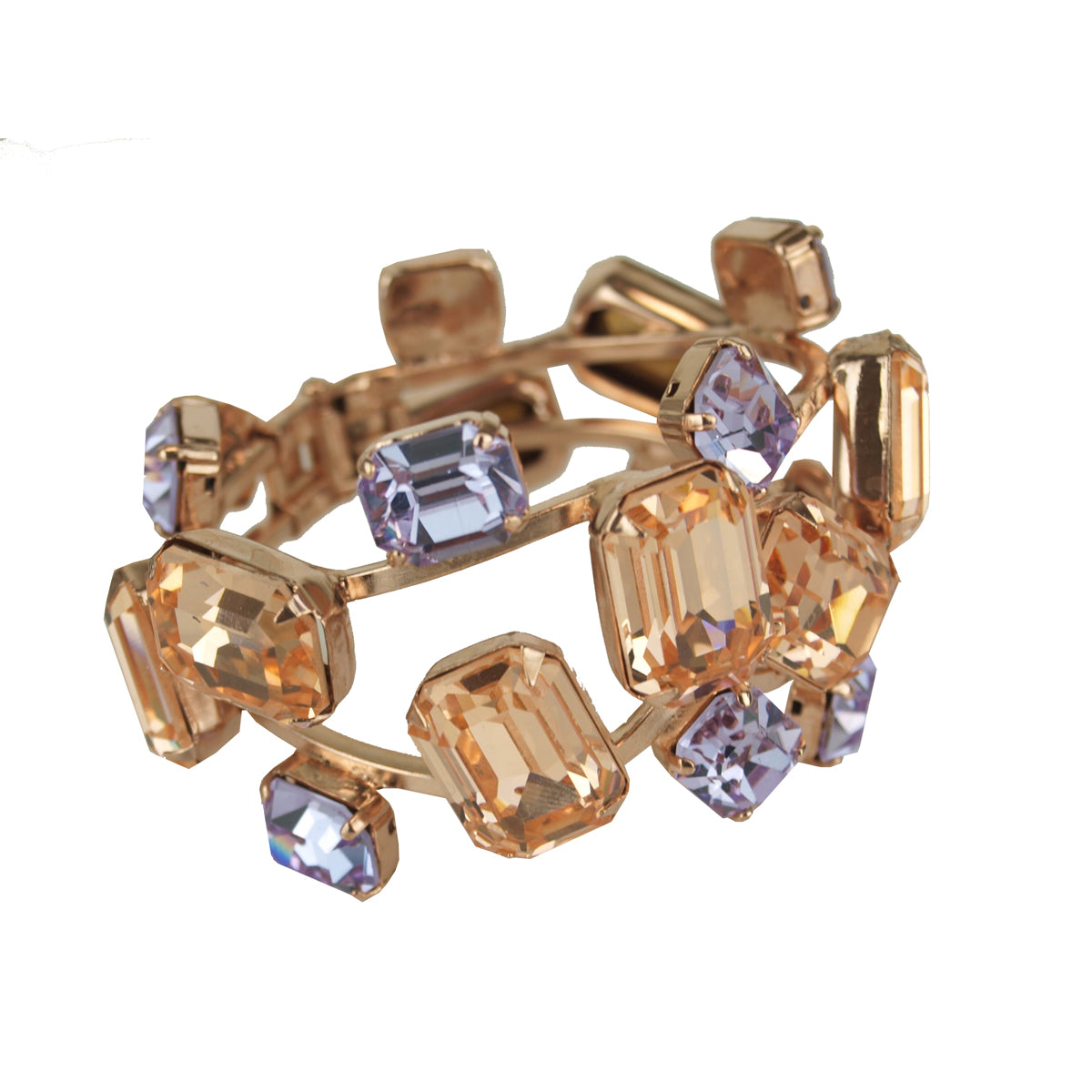 Betty Vintage Crystal and Rose Plated Metal Cuff Bracelet