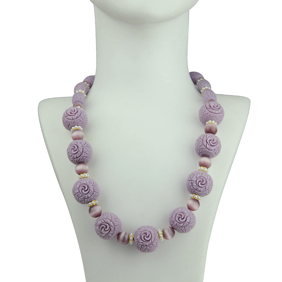 katerina psoma lilac necklace with carved resin beads