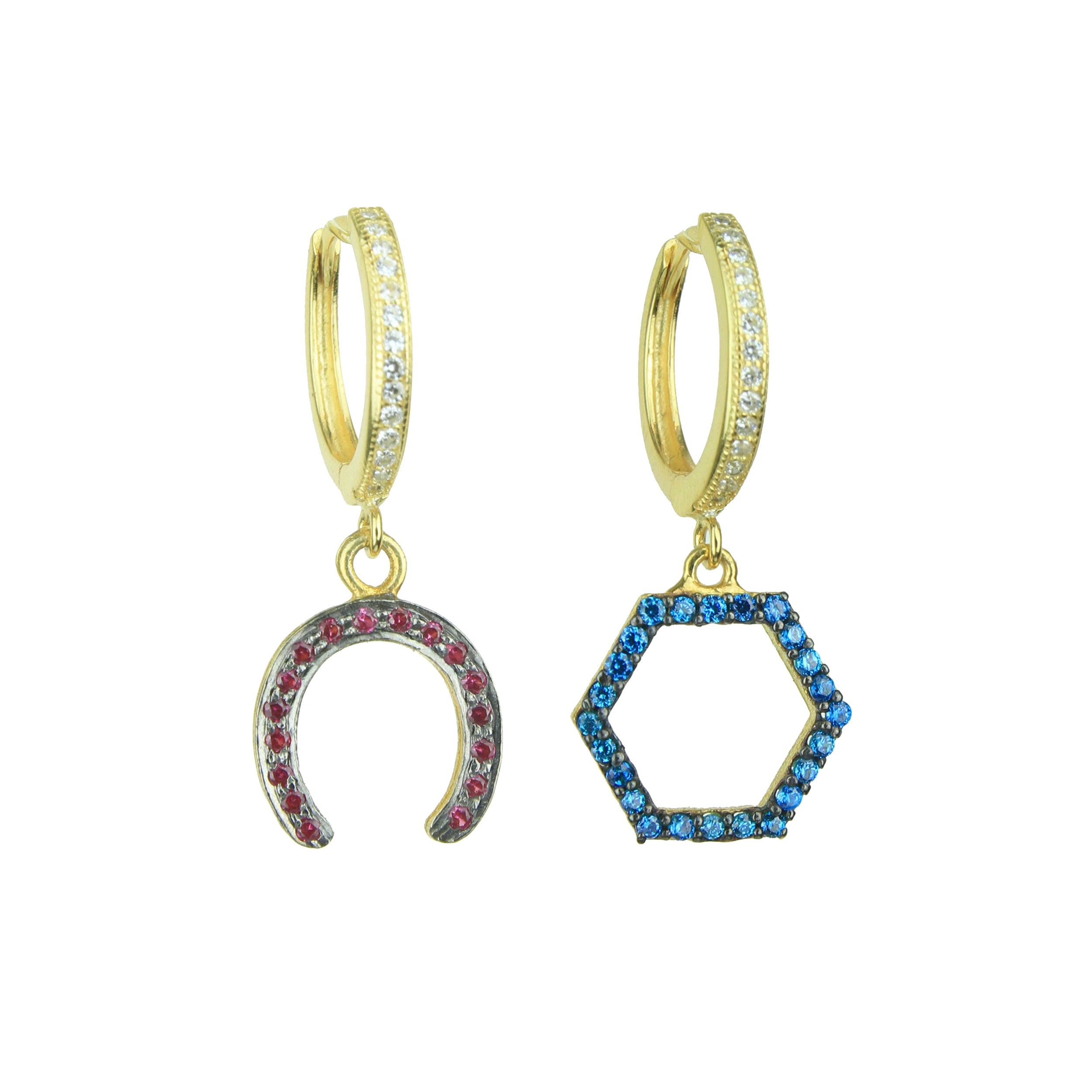 Eugenia Gold Plated 925 Sterling Silver Hoops with Charms