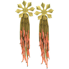 Lola Vintage Bronze Flower Earrings with Colorful Beads