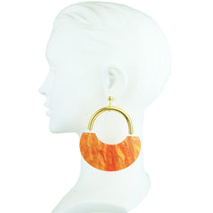 Orange Acrylic Statement Earrings