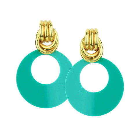 Claudia Vintage Green Resin Earrings