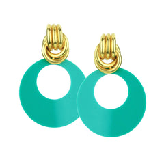 Claudia Vintage Green Resin Hoop Earrings