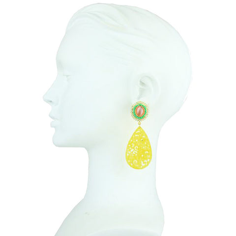 Yellow Jade Earrings with Rosettes and Crystals