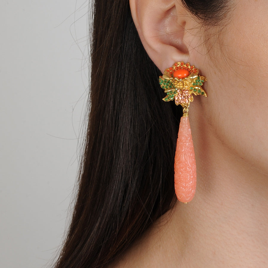 Clip Earrings with Orange Drops Katerina Psoma