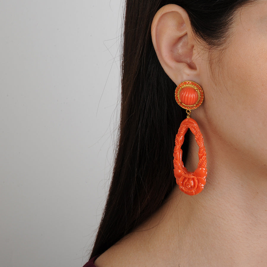 Orange Resin Drop Earrings Katerina Psoma S/S 20