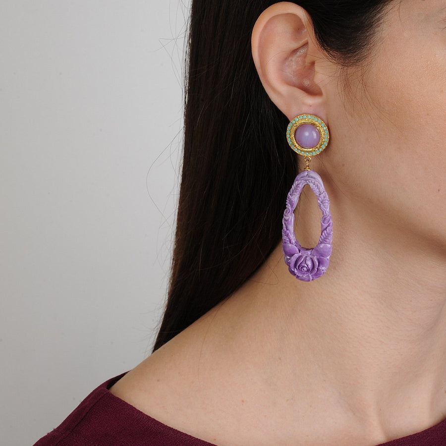 Rosa Violet Resin Drop Earrings Katerina Psoma