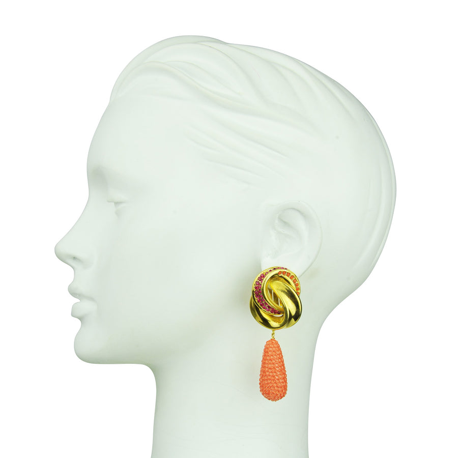 Irene Clip Earrings with Coral Drops Katerina Psoma