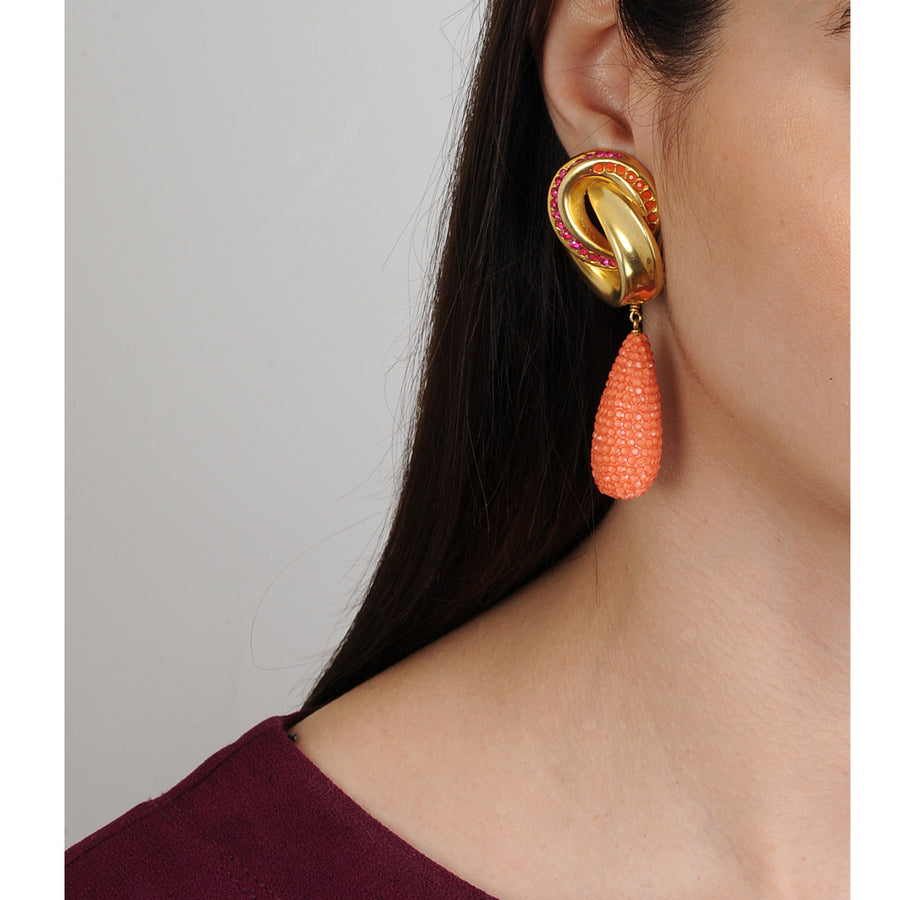 Irene Knot Clip Earrings with Coral Drops  Katerina Psoma