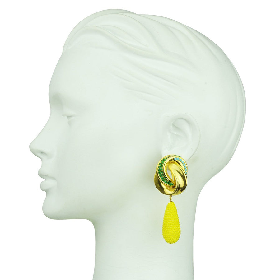 Irene Knot Clip Earrings with Yellow Drops S/S 2020