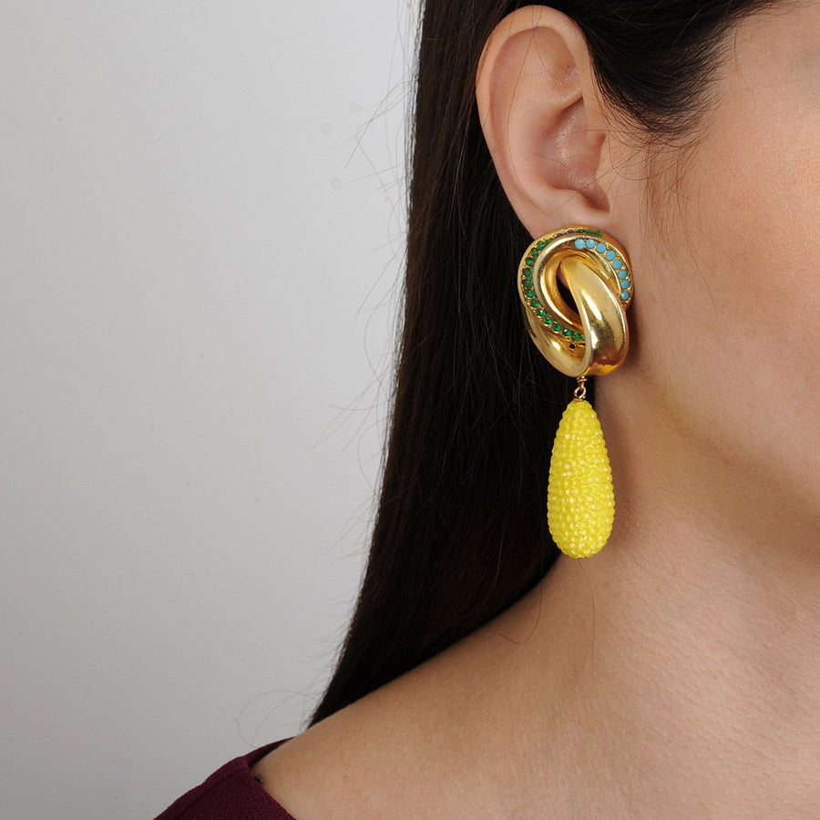 Clip Earrings with Yellow Drops Katerina Psoma