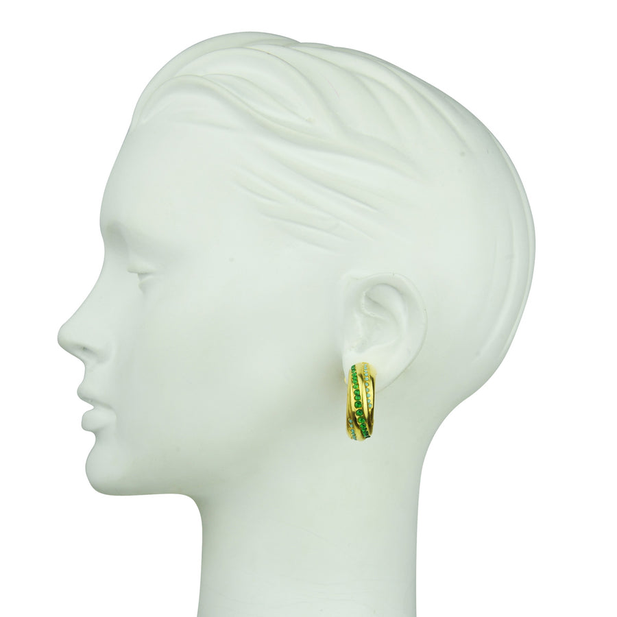 Irene Clip Hoops with Green Zirconia
